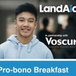Land Aid event with Voscur - promotional graphic with man in hooded jumper